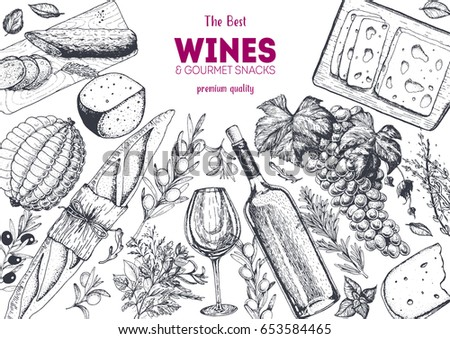 Wines and gourmet snacks frame vector illustration. Cheese, sausages, bread, grape hand drawn. Gourmet food set.
