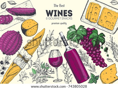 Wines and gourmet snacks frame vector illustration. Cheese, sausages, bread, grape hand drawn. Gourmet food set. Colored illustration.