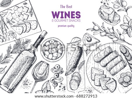 Wines and gourmet snacks frame vector illustration. Snacks for wine hand drawn. Gourmet food set