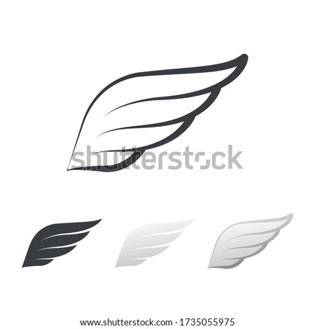 Wing bird element in left part. Flying wings symbol for badge, shield and logo, Angle wing.Wing, vector, icon, graphic, eagle, heraldic, minimal. Vector illustration. Design on white background.EPS10