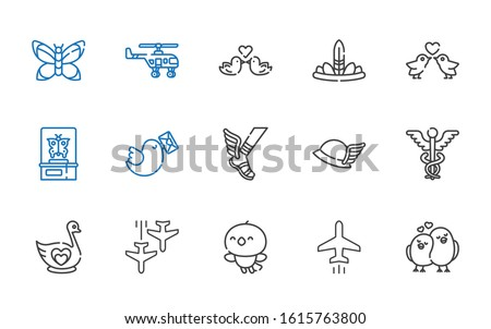 wing icons set. Collection of wing with love birds, plane, bird, swan, caduceus, hermes, pigeon, butterfly, feathers, helicopter. Editable and scalable wing icons.