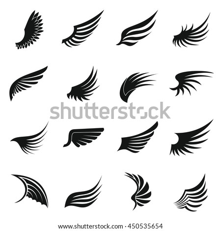 wing icons set in simple ctyle