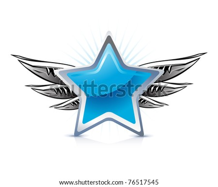 winged blue star on white