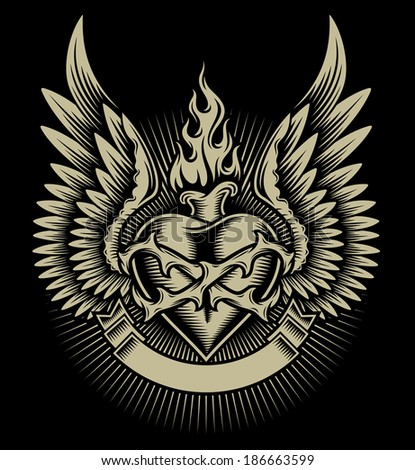 winged burning heart with