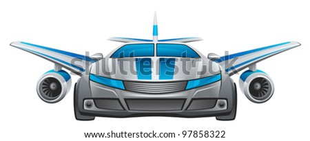 Winged car - stock vector