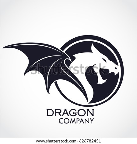 winged dragon circle shape logo