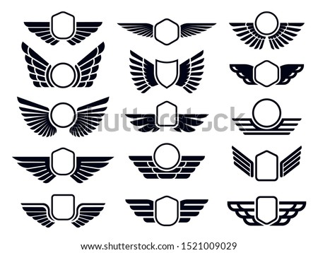 Winged frames. Flying bird shield emblem, eagle wings badge frame and retro aviation fast wing. Delivery cargo logotype or military wings insignia. Isolated symbols vector set