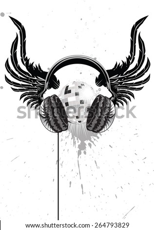 winged headphones and a mirror