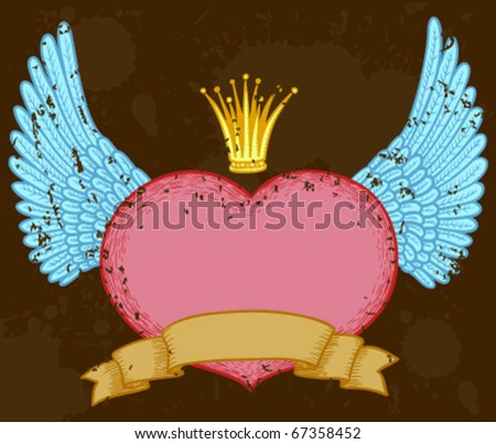 Winged heart banner with crown
