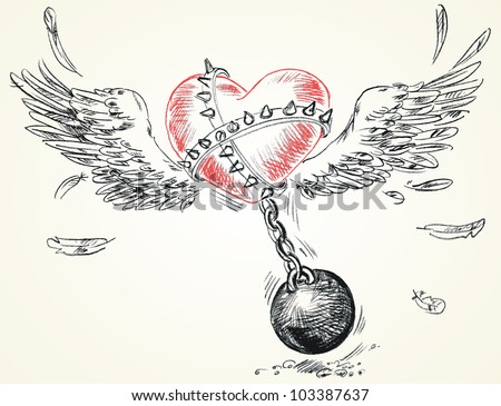 Winged heart fettered fetters. Hand-drawn. Vector version of raster image