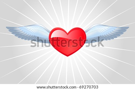 Winged heart. Vector illustration.