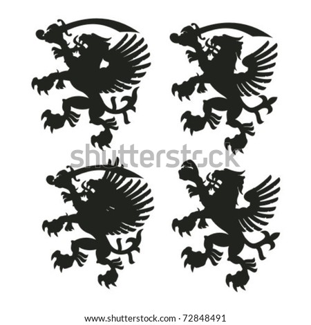 winged lion silhouettes with