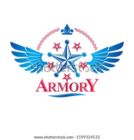 Winged military Star emblem decorated with lily flower. Heraldic vector design element, 5 stars guaranty insignia.  Retro style label, heraldry logo.