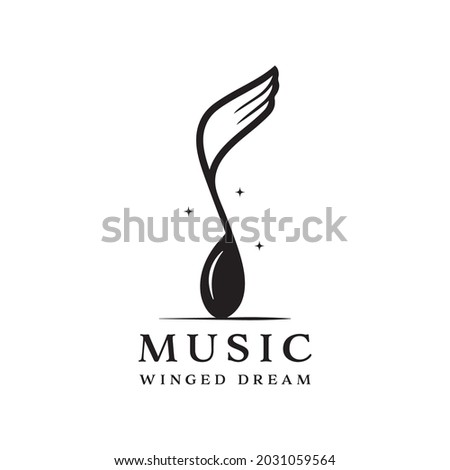 winged music notation logo isolated on white background. combination of musical notation and wings Photo stock ©
