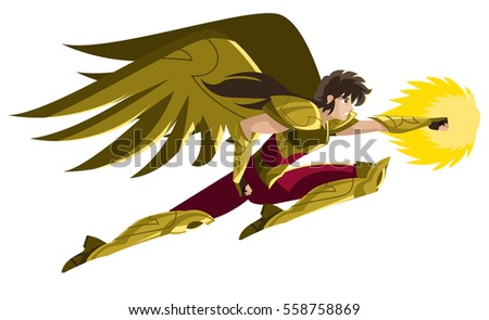 winged powerful anime armored