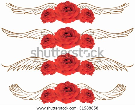 Winged Rose : Set of realistic red roses with angel wing background.