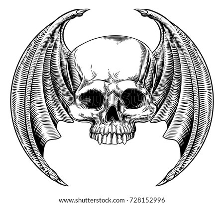 winged skull with bat or dragon