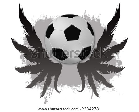 Winged soccer ball  on dirty background, vector illustration
