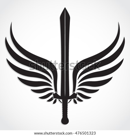winged sword   silhouette