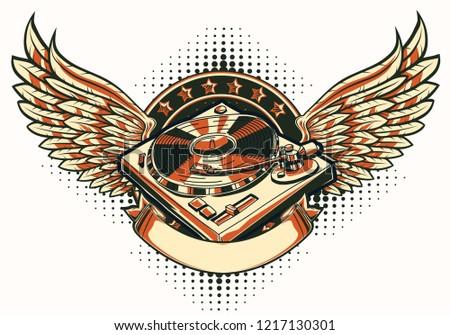 winged turntable music emblem