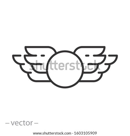 wings bird icon, badge pilot, heraldic label, military insignia, logo, thin line web symbol on white background - editable stroke vector illustration eps10