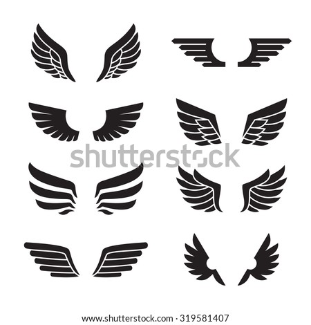 wings black icons vector set....