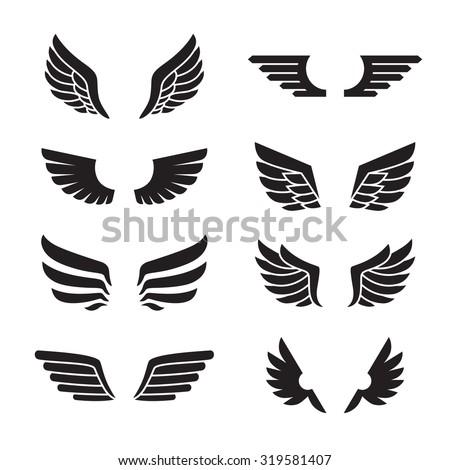 Wings black icons vector set. Modern minimalistic design.