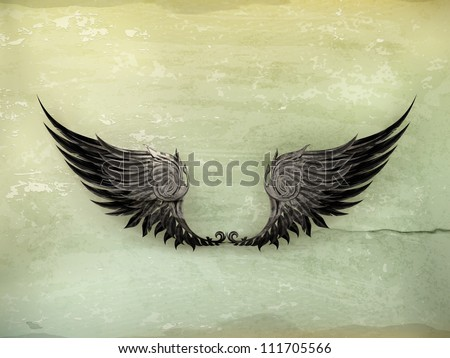 wings black  old style vector