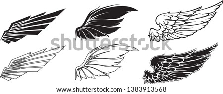 Wings Collection illustration, set of Wings Icon vector, Coat of Arm, Group of Wings vector, Wings Line Vector set.