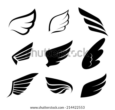 free wings silhouettes - download free vector art, stock graphics