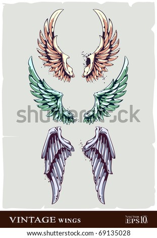 Wings for your vintage design. Layered. All elements are grouped. Vector EPS 10 illustration.