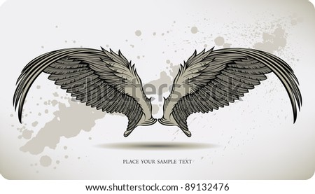 Wings Griffon, hand drawing. Vector illustration.