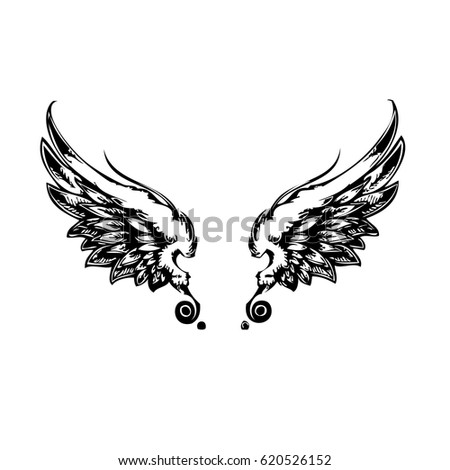 wings  hand drawn detailed