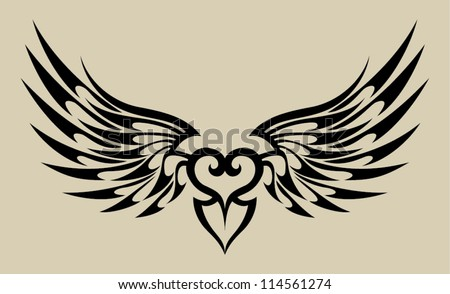 wings heart tattoo