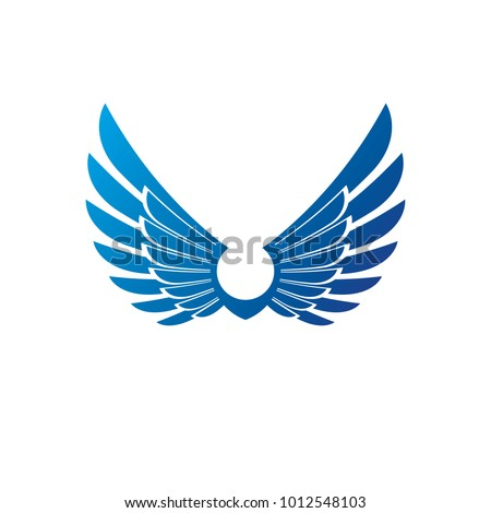 Wings heraldic symbol. Heraldic Coat of Arms decorative logo isolated vector illustration.