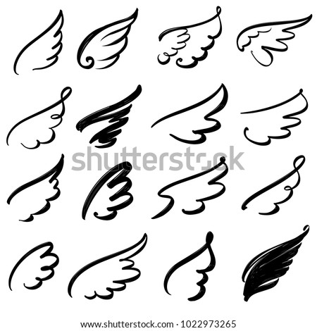 wings icon sketch collection