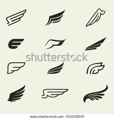 wings icons vector set wings