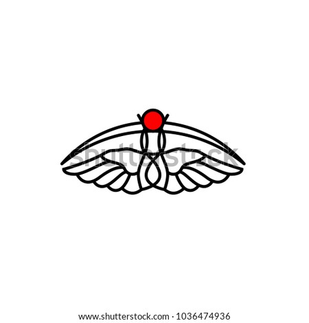 Wings logo. Flat moth on white background. Flying insect icon.