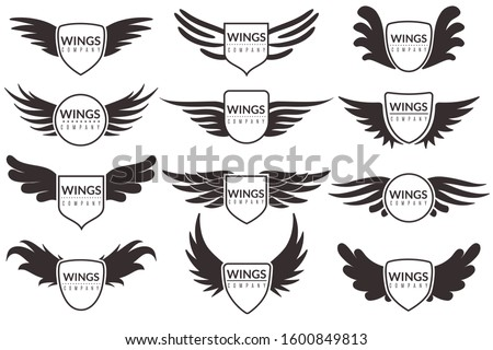 Wings logo. Winged emblems, angel and phoenix wings heraldic symbols, sign for brand, certificate and stickers vintage vector corporate insignia badges