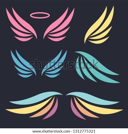 Wings logotype set. Bird wing or winged logo design. Bird wings vector logo. Vector angel winged label