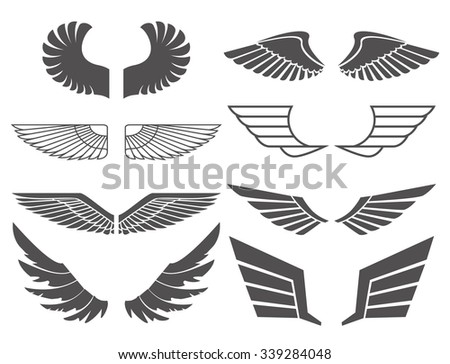 wings set on white background
