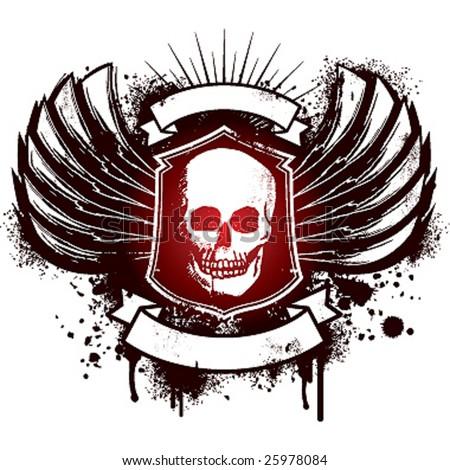 wings skull emblem whit ribbon