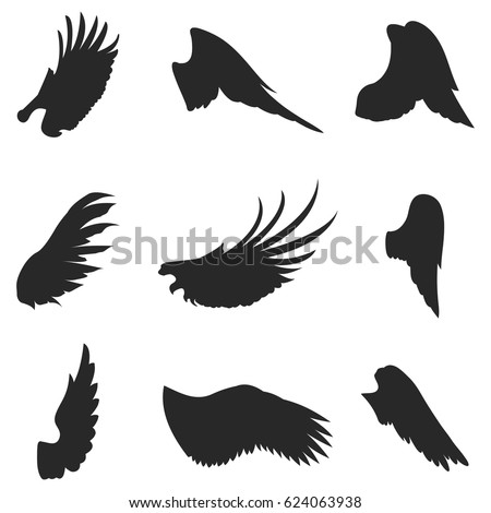 wings vector icons set wing