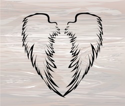 Wings. Vector illustration on wooden background. Black and white style. Linocut.