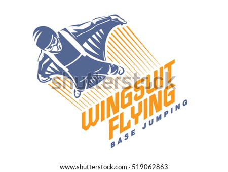 wingsuit flying sport emblem