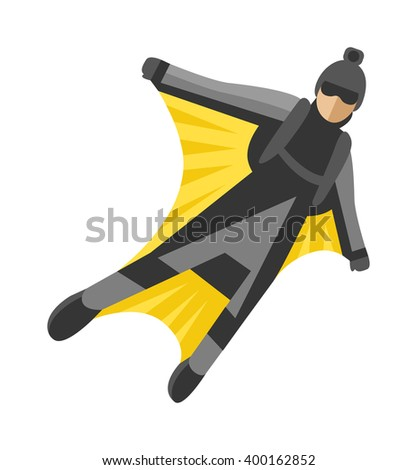wingsuit man jumping and