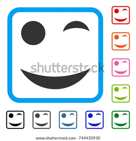 Wink Smile Icon Flat Gray Pictogram Symbol Inside A Blue Rounded