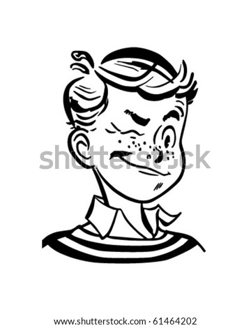 Winking Boy - Retro Clip Art