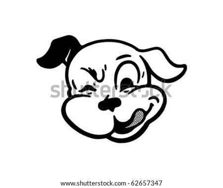 Winking Dog - Retro Clipart Illustration