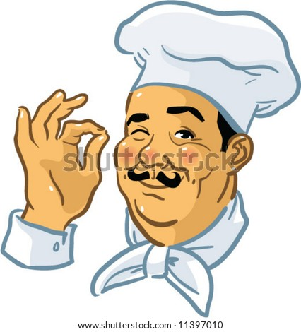 "Winking Pizza Chef giving the ""okay"" sign - vector illustration"